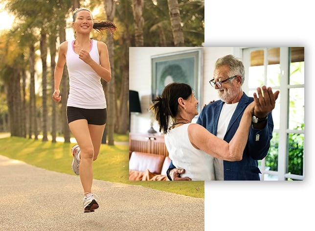 woman running confidently, couple dancing joyfully