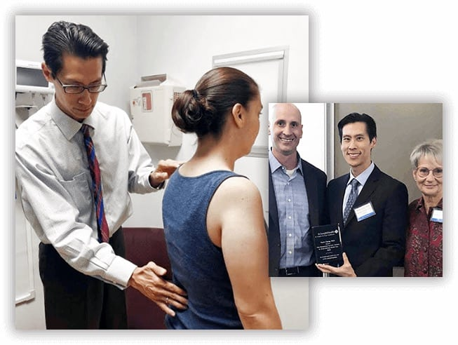 Dr. Cheng assesses female patients spine and is shown in image on right accepting award for medical excellence
